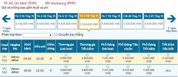 Bảng giá vé máy bay Vietnam Airlines đi Cao Hùnggiá rẻ tháng 11/2016