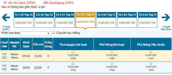 Giávé máy bay hãng Vietnam Airlines đi Cao Hùng mới nhất