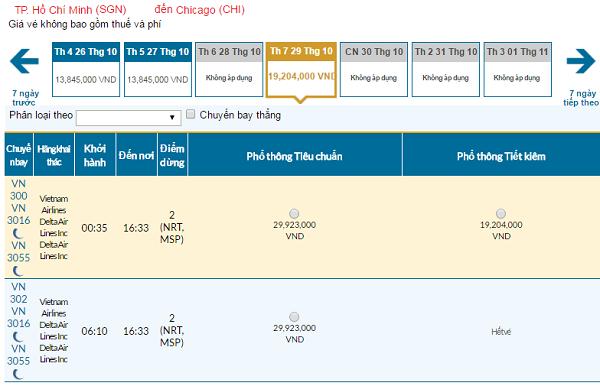 Giávé máy bay hãng Vietnam Airlines đi Mỹ mới nhất