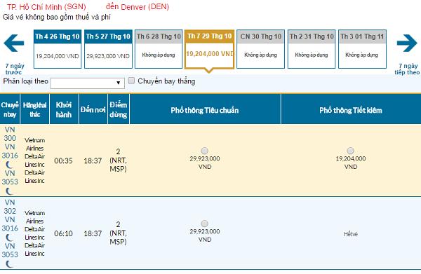 Giávé máy bay hãng Vietnam Airlines đi Denver mới nhất