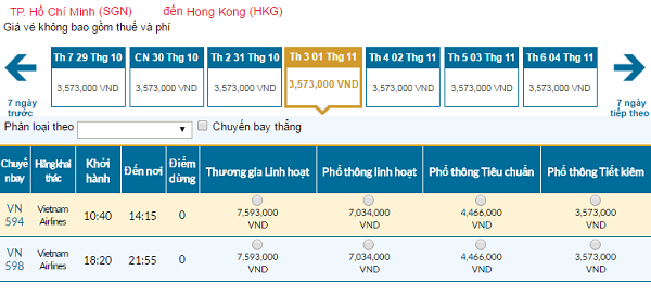 Giávé máy bay hãng Vietnam Airlines đi Hồng Kông mới nhất