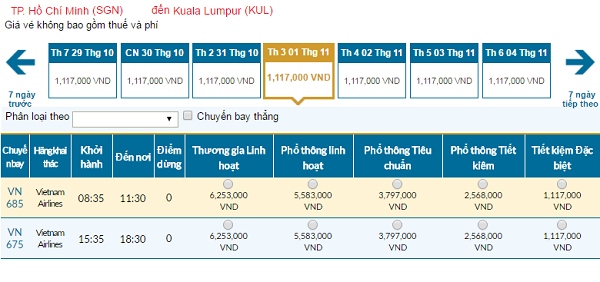 Giávé máy bay hãng Vietnam Airlines đi Kuala Lumpur