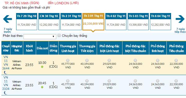 Giávé máy bay hãng Vietnam Airlines đi Anh mới nhất