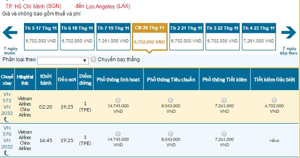 Bảng giá vé máy bay Vietnam Airlines đi Los Angeles giá rẻ tháng 11/2016.