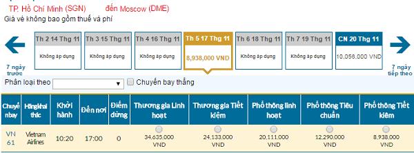 Bảng giá vé máy bay đi Moscow hãngVietnam Airlines giá rẻ tháng 11/2016