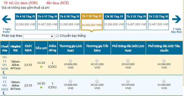 Bảng giá vé máy bay đi Nice của hãngVietnam Airlines giá rẻ tháng 11/2016