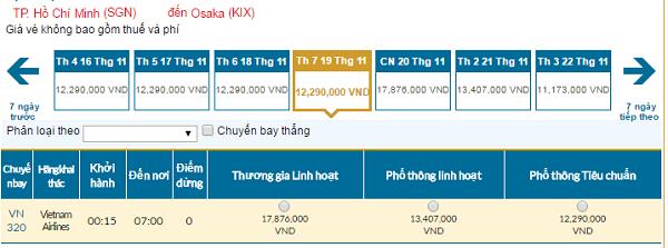 Bảng giá vé máy bay Vietnam Airlines giá rẻ đi Osakatháng 11/2016