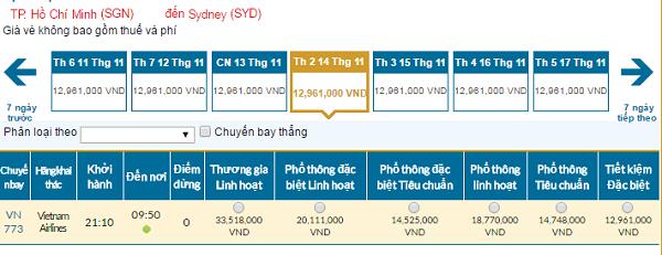 Bảng giá vé máy bay Vietnam Airlines giá rẻ đi Sydney 11/2016