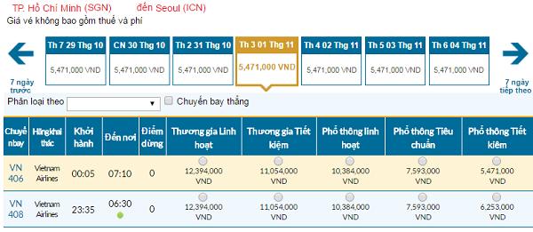 Giávé máy bay hãng Vietnam Airlines đi Seoul mới nhất