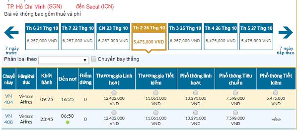 Bảng giá vé máy bay Vietnam Airlines giá rẻ đi Seoul 11/2016