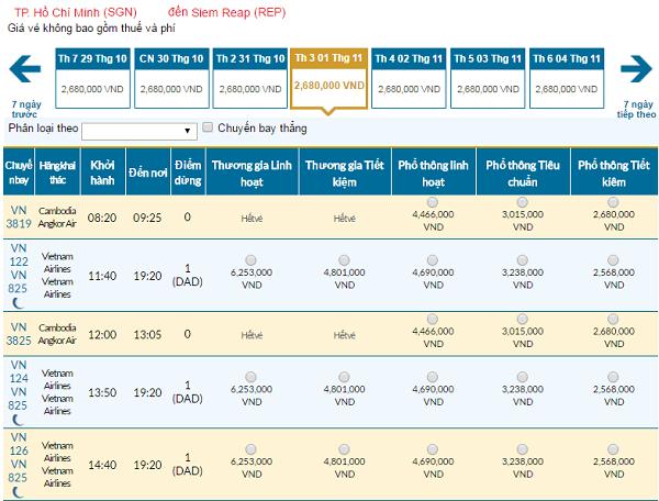 Giávé máy bay hãng Vietnam Airlines đi Siem Reap mới nhất