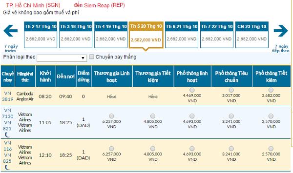 Bảng giá vé máy bay Vietnam Airlines giá rẻ đi Siem Reap 11/2016