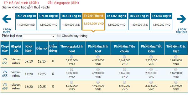 Giávé máy bay hãng Vietnam Airlines đi Singapore mới nhất