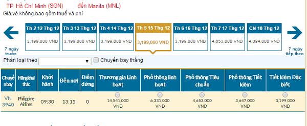 Bảng giávé máy bay Vietnam Airlines đi Manila tháng 12/2016