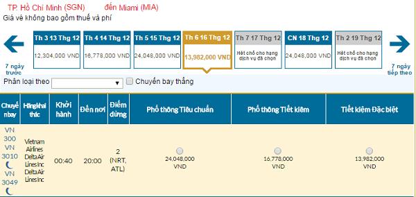 Bảng giá vé máy bay Vietnam Airlines đi Miamigiá rẻ tháng 12/2016