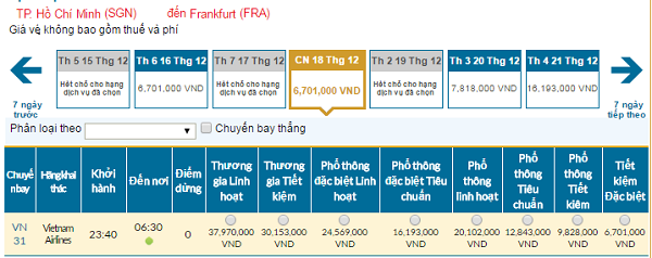 Bảng giá vé máy bay đi Frankfurt giá rẻ của Vietnam Airlines tháng 11/2016