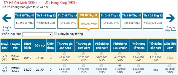 Bảng giá vé máy bay đi HongKong hãng Vietnam Airlines tháng 11/2016