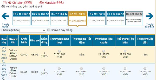 Bảng giá vé máy bay đi Honolulu giá rẻ của hãng Vietnam Airlines tháng 11/2016