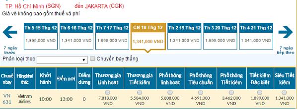 Bảng giá vé máy may Vietnam Airlines đi indonesia giá rẻ tháng 11/2016