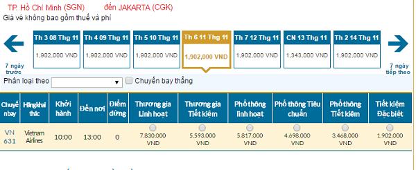 Bảng giá vé máy bay Vietnam Airlines đi Jakarta giá rẻ 11/2016