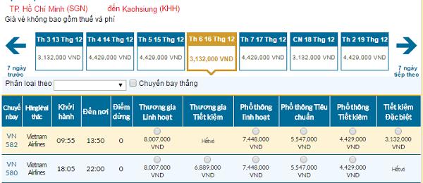 Bảng giá vé máy bay đi Đài Loangiá rẻ của hãng Vietnam Airlines tháng 12/2016