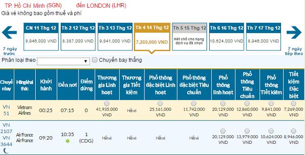 Bảng giá vé máy bay đi Anh giá rẻ của Vietnam Airlines tháng 12/2016