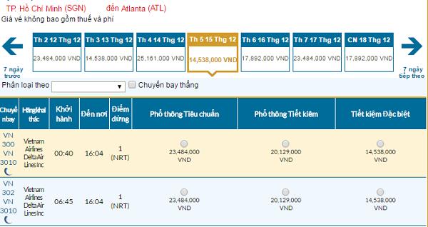 Bảng giá vémáy bay đi Atlanta giá rẻ hãng Vietnam Airlines tháng 12/2016
