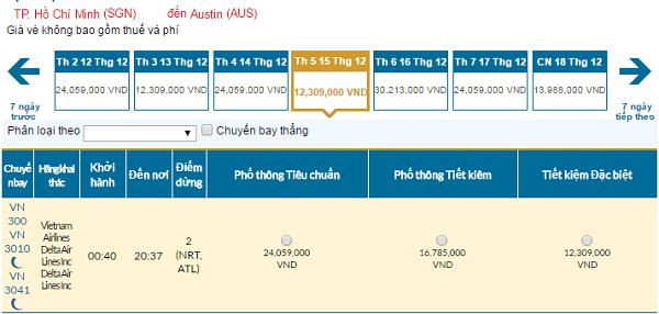 Bảng giá vé máy bay đi Austingiá rẻ hãng Vietnam Airlines tháng 12/2016