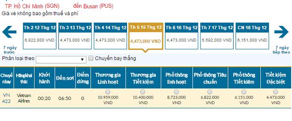 Bảng giá vé máy bay đi Busangiá rẻ của Vietnam Airlines tháng 12/2016