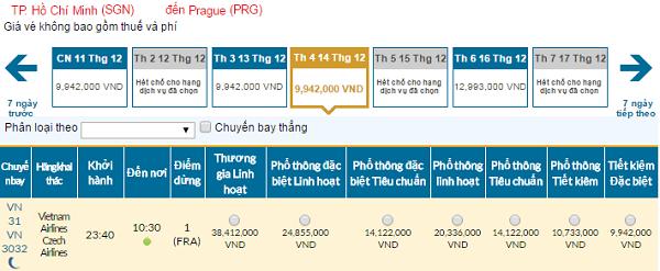 Bảng giá vé máy bay đi Praha giá rẻ của Vietnam Airlines tháng 12/2016