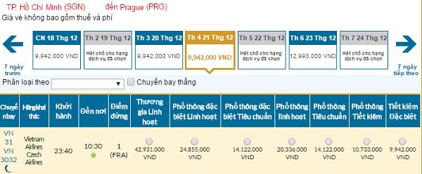 Bảng giá vé máy bay đi Cộng Hòa Sec giá rẻ của Vietnam Airlines tháng 12/2016