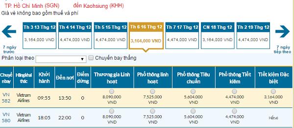 Bảng giá vé máy bay đi Cao Hùng giá rẻ của Vietnam Airlines tháng 12/2016