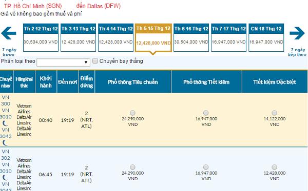 Bảng giá vé máy bay đi Dallas giá rẻ của Vietnam Airlines tháng 12/2016