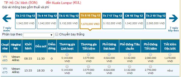 Bảng giá vé máy bay đi Kuala Lumpurgiá rẻ của Vietnam Airlines tháng 12/2016