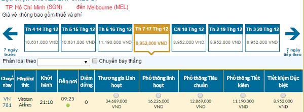 Bảng giá vé máy bay đi Melbourne giá rẻ hãng Vietnam Airlines tháng 12/2016