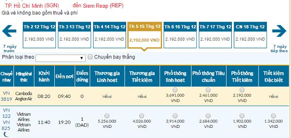 Bảng giá vé máy bay đi Siem Reap giá rẻ của Vietnam Airlines tháng 12/2016
