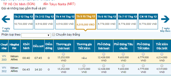 Bảng giá vé máy bay đi Tokyo giá rẻ của Vietnam Airlines tháng 12/2016