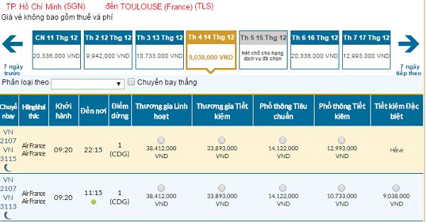Bảng giá vé máy bay đi Toulouse giá rẻ của Vietnam Airlines tháng 12/2016