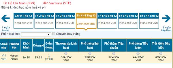 Bảng giá vé máy bay đi Vientiane giá rẻ của Vietnam Airlines tháng 12/2016