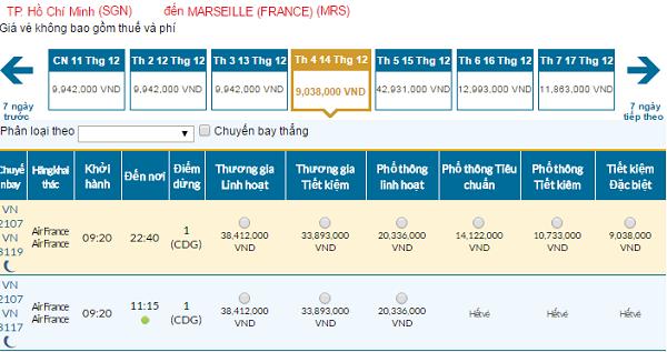 Bảng giá vé máy bay đi Marseillegiá rẻ của Vietnam Airlines tháng 12/2016