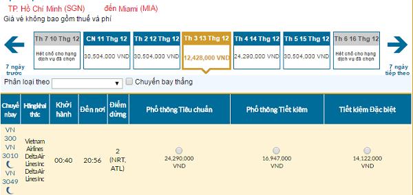 Bảng giá vé máy bay đi Miami giá rẻ của Vietnam Airlines tháng 12/2016