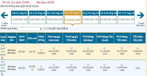 Bảng giá vé máy bay đi Nice giá rẻ của Vietnam Airlines tháng 12/2016