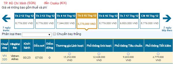 Bảng giá vé máy bay đi Osaka giá rẻ của Vietnam Airlines tháng 12/2016