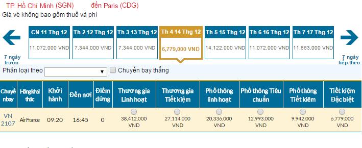 Bảng giá vé máy bay đi Pháp giá rẻ của Vietnam Airlines tháng 12/2016
