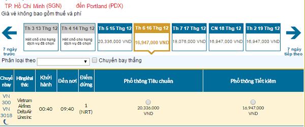 Bảng giá vé máy bay đi Portland giá rẻ của Vietnam Airlines tháng 12/2016