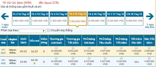 Bảng giá vé máy bay đi Seoul giá rẻ của hãng Vietnam Airlines tháng 12/2016