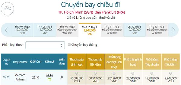 Bảng giá vé máy bay đi Đức giá rẻ hãng Vietnam Airlines