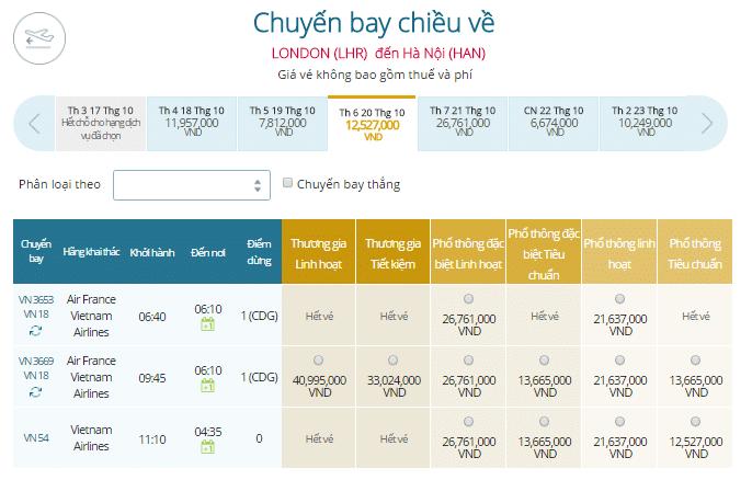 Vé máy bay từ London đi Hà Nội