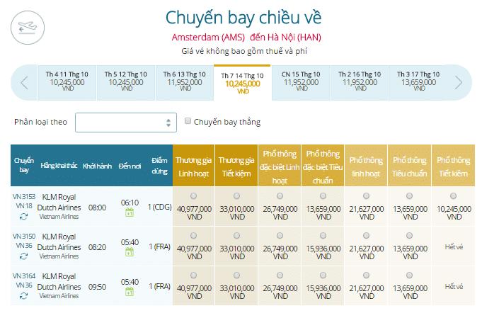 Vé máy bay Vietnam Airlines Chặng bay Hà Nội - Hà Lan