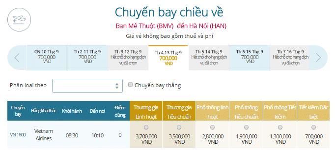 Giá vé máy bay Buôn Ma Thuột - Hà Nội Vietnam Airlines